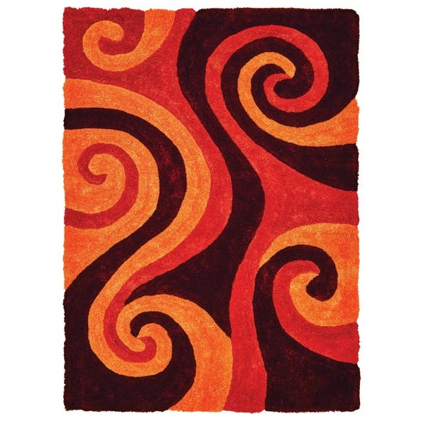 Leliel Burnt Orange Shag Area Rug