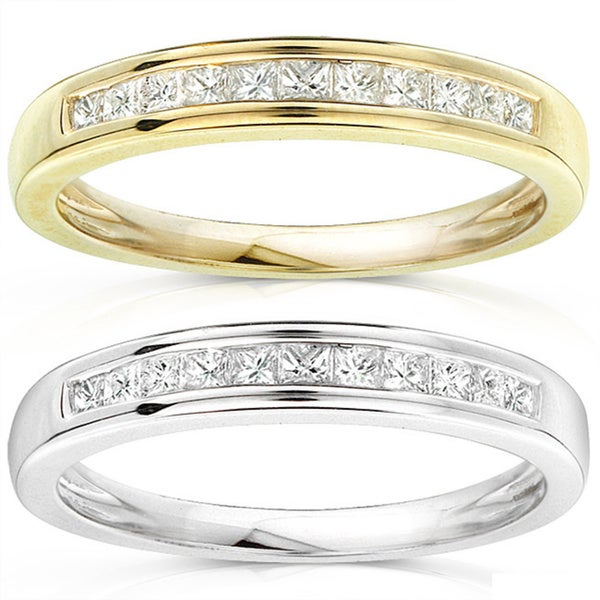 Annello by Kobelli 14k Gold 1/4ct TDW Princess Diamond Wedding Band (H-I, I1-I2)