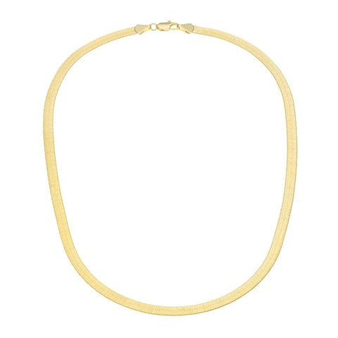 """18k Gold Plated Over Sterling Silver HerringBone Necklace (16""""-20"""")"""