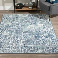 "ADDISON Ellis Modern Mosaic Shades of Blue Area Rug  9'6""X13'2"""