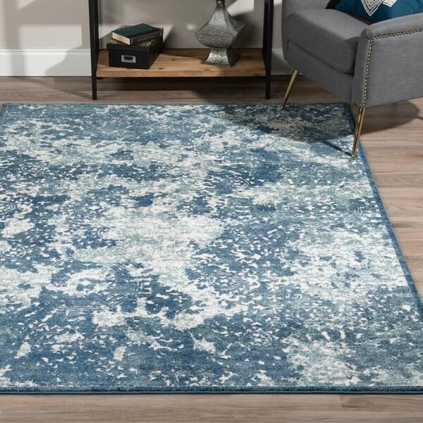 """ADDISON Ellis Nebulous Shades of Blue Area Rug 3'3""""X5'1"""""""