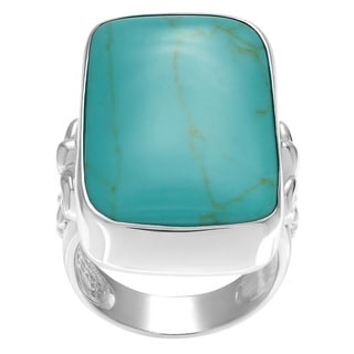 Sterling Silver Faux Turquoise Cocktail Ring