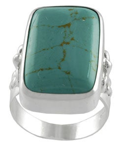 Journee Collection Sterling Silver Created Block Turquoise Ring