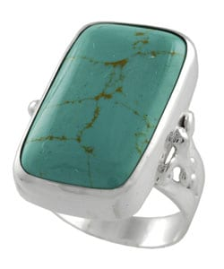 Journee Collection Sterling Silver Faux Turquoise Statement Ring