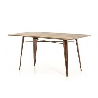 Modrest Ford Modern Copper & Wood Dining Table - Walnut