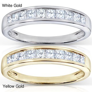 Annello by Kobelli 14k Gold 1/2ct TDW Princess Diamond Wedding Band (H-I, I1-I2)