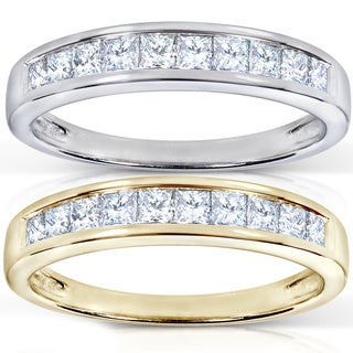 Annello by Kobelli 14k Gold 1/2ct TDW Channel Princess Diamond Wedding Band