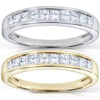 Annello by Kobelli 14k Gold 1/2ct TDW Princess Diamond Wedding Band