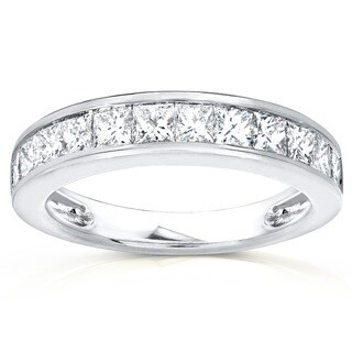 Annello 14k Gold 1ct TDW Princess Diamond Wedding Band (H-I, I1-I2)