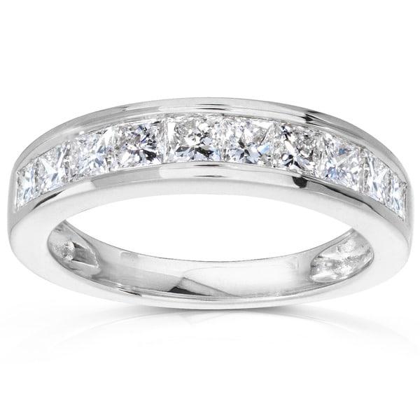Annello 14k Gold 1ct TDW Princess Diamond Wedding Band