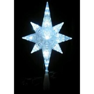 "11"" LED Lighted Clear Crystal Bethlehem Star Xmas Tree Topper - Clear"