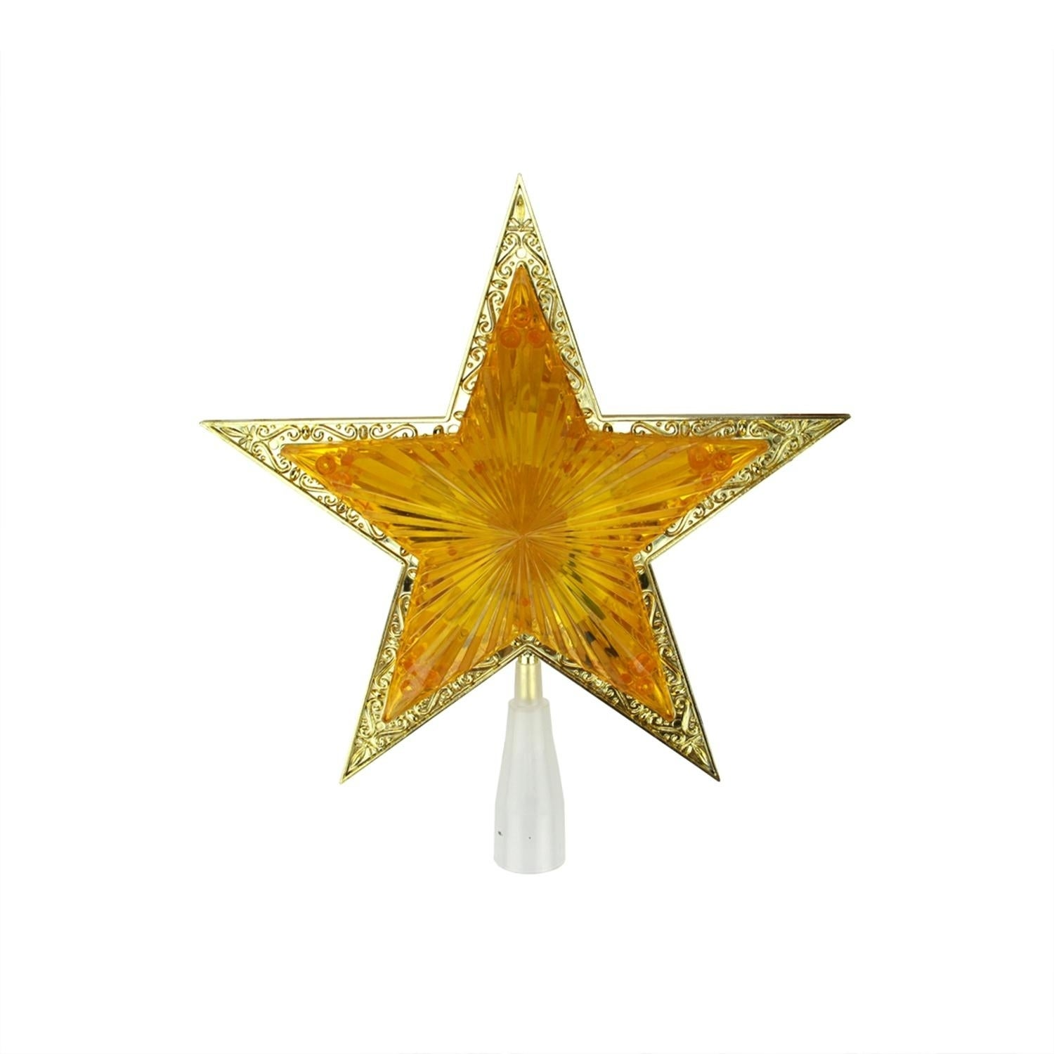 10 Lighted Orange And Gold Crystal Star Xmas Tree Topper