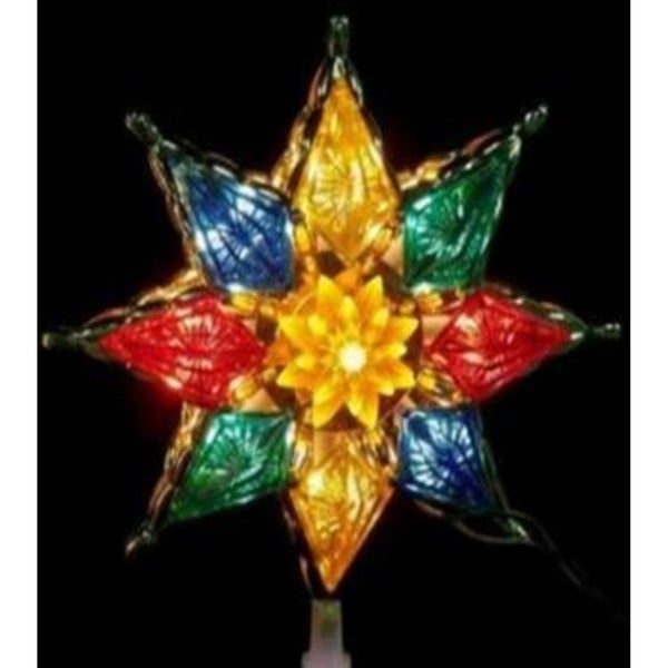8 Lighted Multi Color Crystal 8 Point Star Xmas Tree Topper