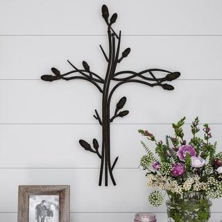 Lavish Home Metal Wall Cross with Decorative Intertwined Vine Design