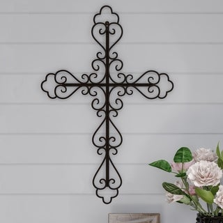 Lavish Home Metal Wall Cross with Decorative Fleur De Lis Design