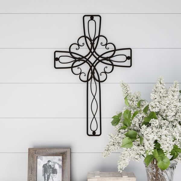 Lavish Home Metal Wall Cross with Decorative Floral Scroll Design