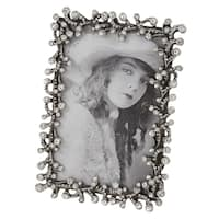 Pewter Picture Frame With Jeweled Design