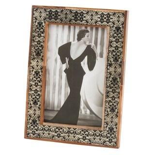 Wood Trimmed Contrasting Damask Photo Frame