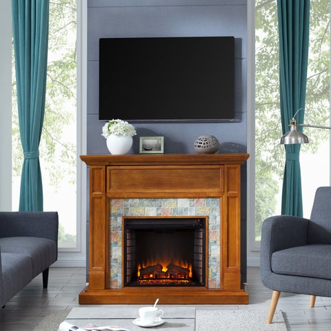 Harper Blvd Harvill Faux Stone Media Electric Fireplace, Dark Sienna with Multicolored Slate