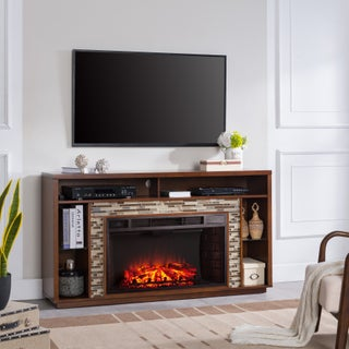 Harper Blvd Niamh Glass Tiled TV Stand Electric Fireplace, Whiskey Maple with Multicolored Tile