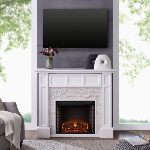 Shop Johnesborough Faux Stone Media Electric Fireplace White With