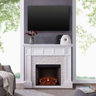 Harper Blvd Johnesborough Faux Stone Media Electric Fireplace, White with Rustic White