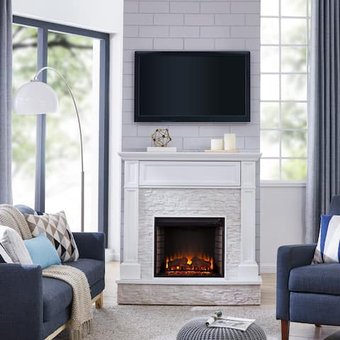 Ashfield White Faux Stone Electric Fireplace with Storage