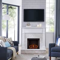 Harper Blvd Ashfield Faux Stone Media Electric Fireplace, White with Rustic White