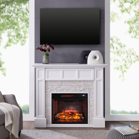 Harper Blvd Johnesborough Faux Stone Media Infrared Fireplace, White with Rustic White