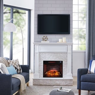 Harper Blvd Ashfield Faux Stone Media Infrared Fireplace, White with Rustic White