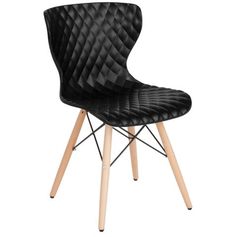 Contemporary Design Plastic Chair with Wooden Legs
