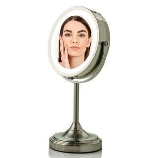 Ovente MCT70 Lighted Table Top Makeup Mirror 1x/7x Magnification