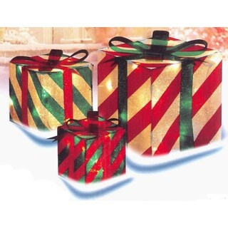 3-Piece Glistening Striped Gift Box Lighted Xmas Outdoor Decoration