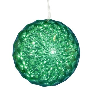 Green LED Lighted Hanging Xmas Crystal Sphere Ball Outdoor Décor