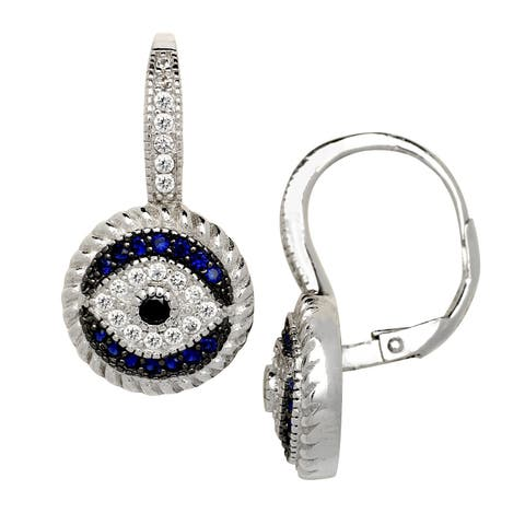 Curata 925 Sterling Silver Blue and White Cubic Zirconia Evil Eye Drop Leverback Earrings (12mm x24mm)