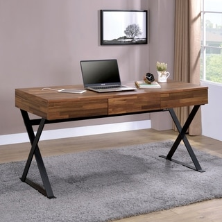 Furniture of America Patton Industrial 3-drawer Desk with USB Outlet