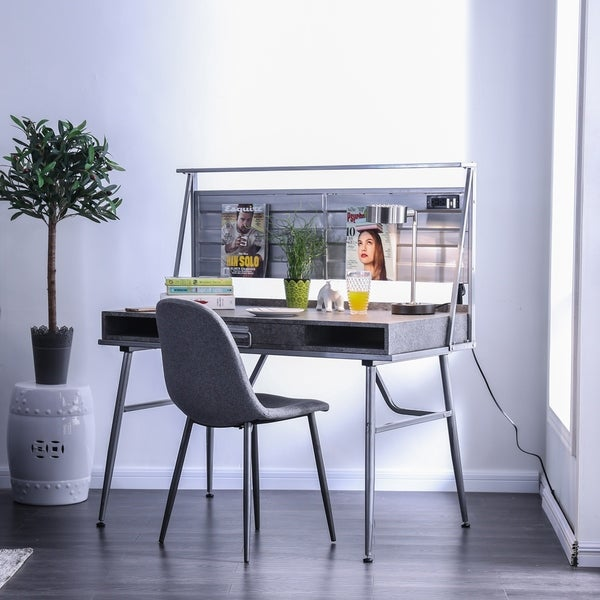 Carbon Loft Woolf Metal Desk With Usb Outlet