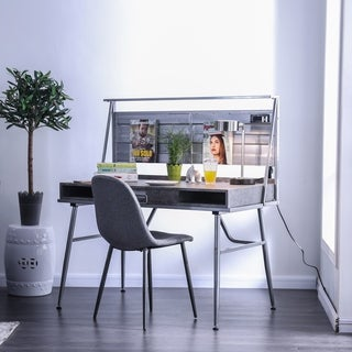 Carbon Loft Woolf Industrial Metal Desk with USB Outlet