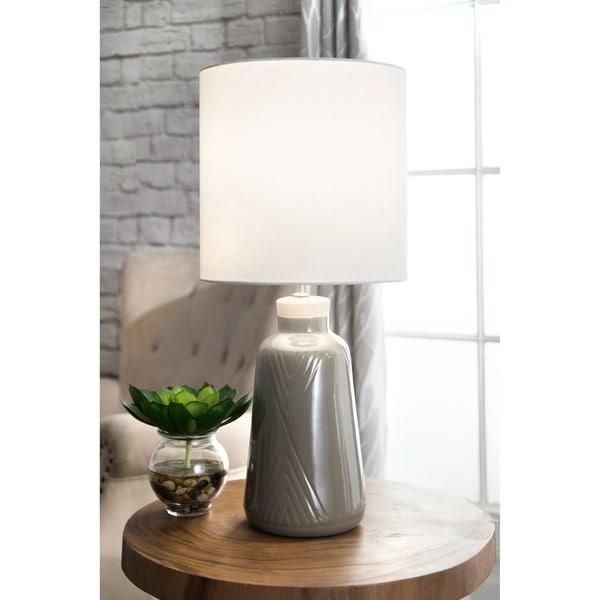 7f4c9fe3acc0 Shop Watch Hill 30-inch Venus Cream Ceramic Linen Shade Table Lamp - 27
