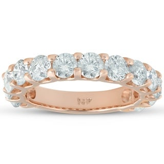 14k Rose Gold 2 1/2 cttw Diamond Wedding Ring U Prong Womens Anniversary Stacable Band