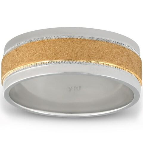 Platinum & 18k Yellow Gold 8mm Flat Comfort Fit Mens Wedding Band