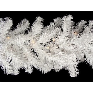 """9' x 12"""" Pre-Lit Snow White Artificial Xmas Garland - Clear Lights"""