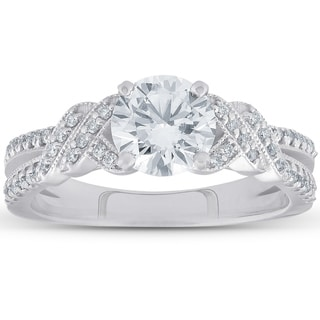Pompeii3 14k White Gold 1 1/2 CTTDW Diamond Clarity Enhanced Vintage Engagement Ring Round Cut
