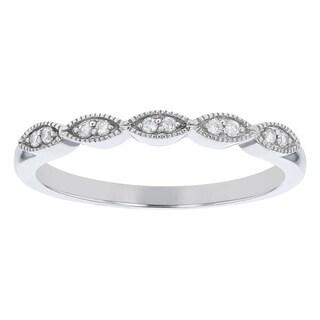 10K White Gold 1/14ct. Diamonds Women's Wedding Band Ring