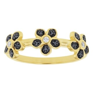 10K Yellow Gold 1/12ct. Black and White Diamonds Flowers Band Ring