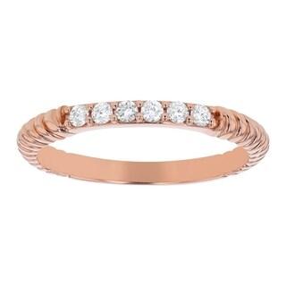 10K Rose Gold 1/6ct. Diamonds Women's Wedding Band Ring