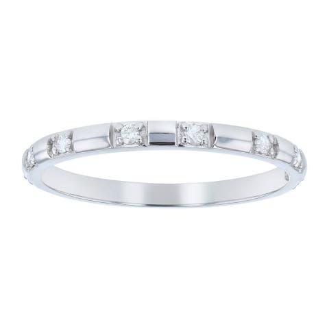 10K White Gold 1/10ct. Diamonds Women's Wedding Band Ring by Beverly Hills Charm