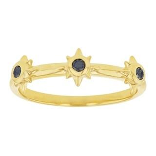 10K Yellow Gold 1/8ct. Black Diamonds Stars Band Ring