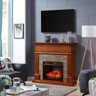 Harper Blvd Hennintol Faux Stone Infrared Fireplace, Glazed Pine and Multicolored Faux Stone