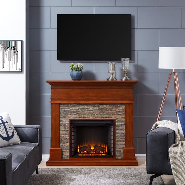 Shop Hennintol Faux Stone Electric Fireplace Glazed Pine And